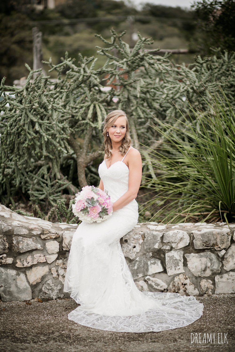 madame makeup and hair, backless column sheath wedding dress, heb blooms, succulent and pink wedding bouquet, cloudy march wedding photo, canyon springs golf club wedding, san antonio, texas {dreamy elk photography and design}