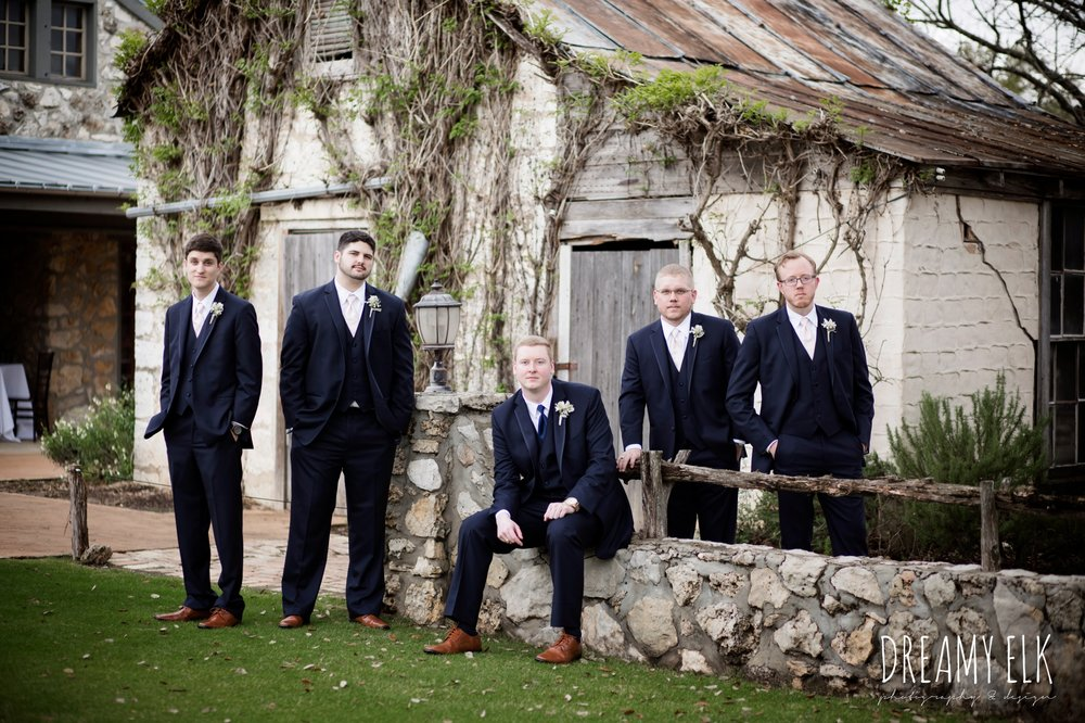 groom and groomsmen in navy suits, cloudy march wedding photo, canyon springs golf club wedding, san antonio, texas {dreamy elk photography and design}