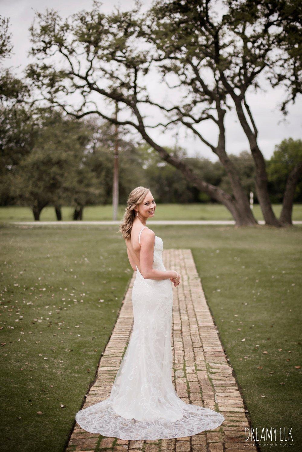 backless column sheath wedding dress, cloudy march wedding photo, canyon springs golf club wedding, san antonio, texas {dreamy elk photography and design}