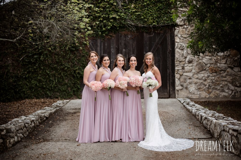 bride and bridesmaids, mix and matched floor length blush bridesmaid dresses, backless column sheath wedding dress, heb blooms, cloudy march wedding photo, canyon springs golf club wedding, san antonio, texas {dreamy elk photography and design}