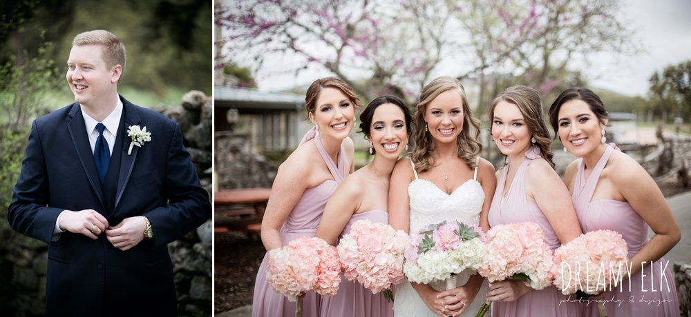 madame makeup and hair, groom and groomsmen in navy suits, bride and bridesmaids, mix and matched floor length blush bridesmaid dresses, heb blooms, cloudy march wedding photo, canyon springs golf club wedding, san antonio, texas {dreamy elk photography and design}