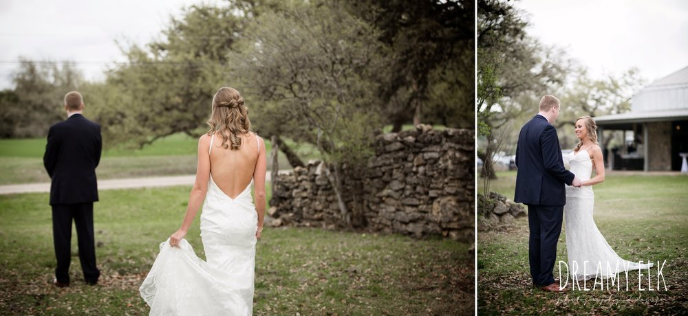 first look, backless column sheath wedding dress, cloudy march wedding photo, canyon springs golf club wedding, san antonio, texas {dreamy elk photography and design}