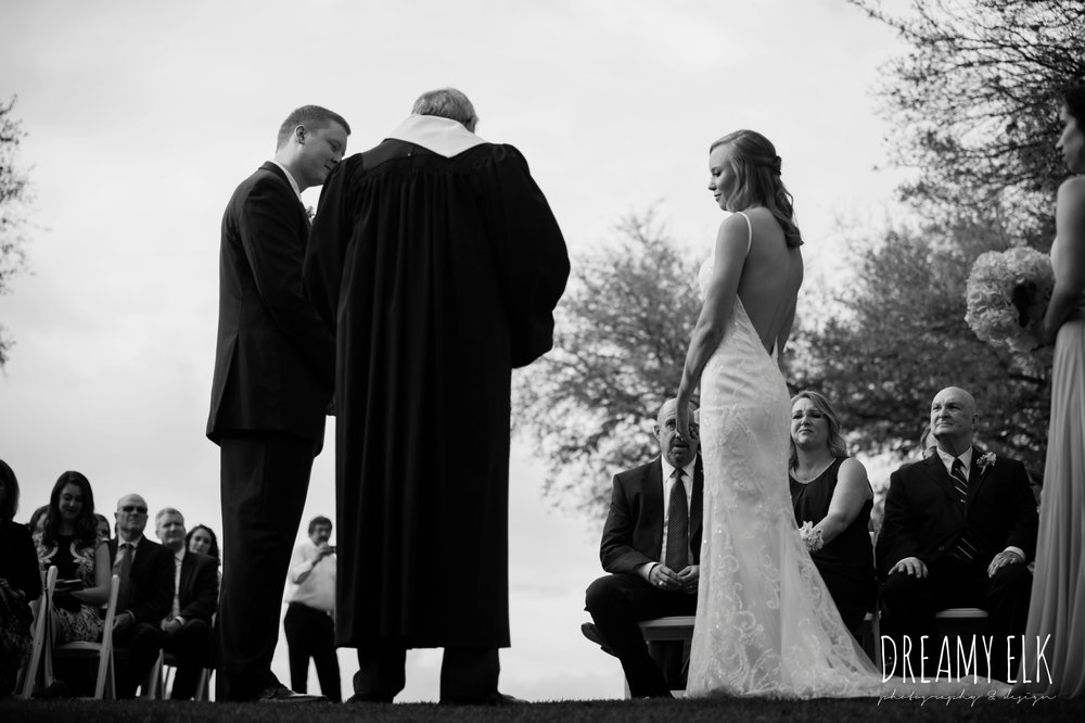 outdoor wedding ceremony, backless column sheath wedding dress, cloudy march wedding photo, canyon springs golf club wedding, san antonio, texas {dreamy elk photography and design}