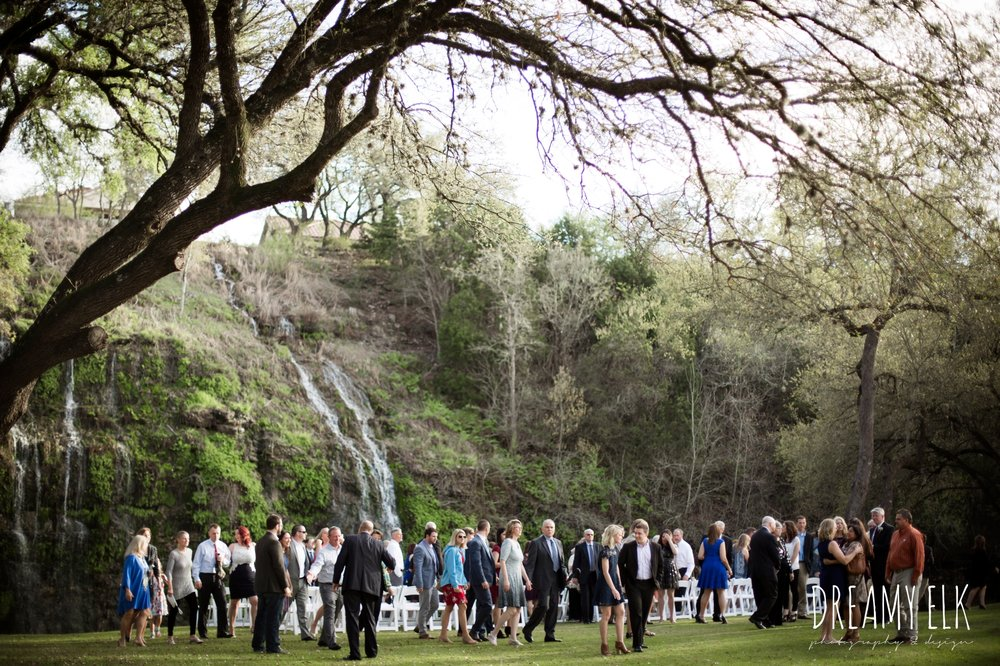 outdoor wedding ceremony, waterfall, cloudy march wedding photo, canyon springs golf club wedding, san antonio, texas {dreamy elk photography and design}