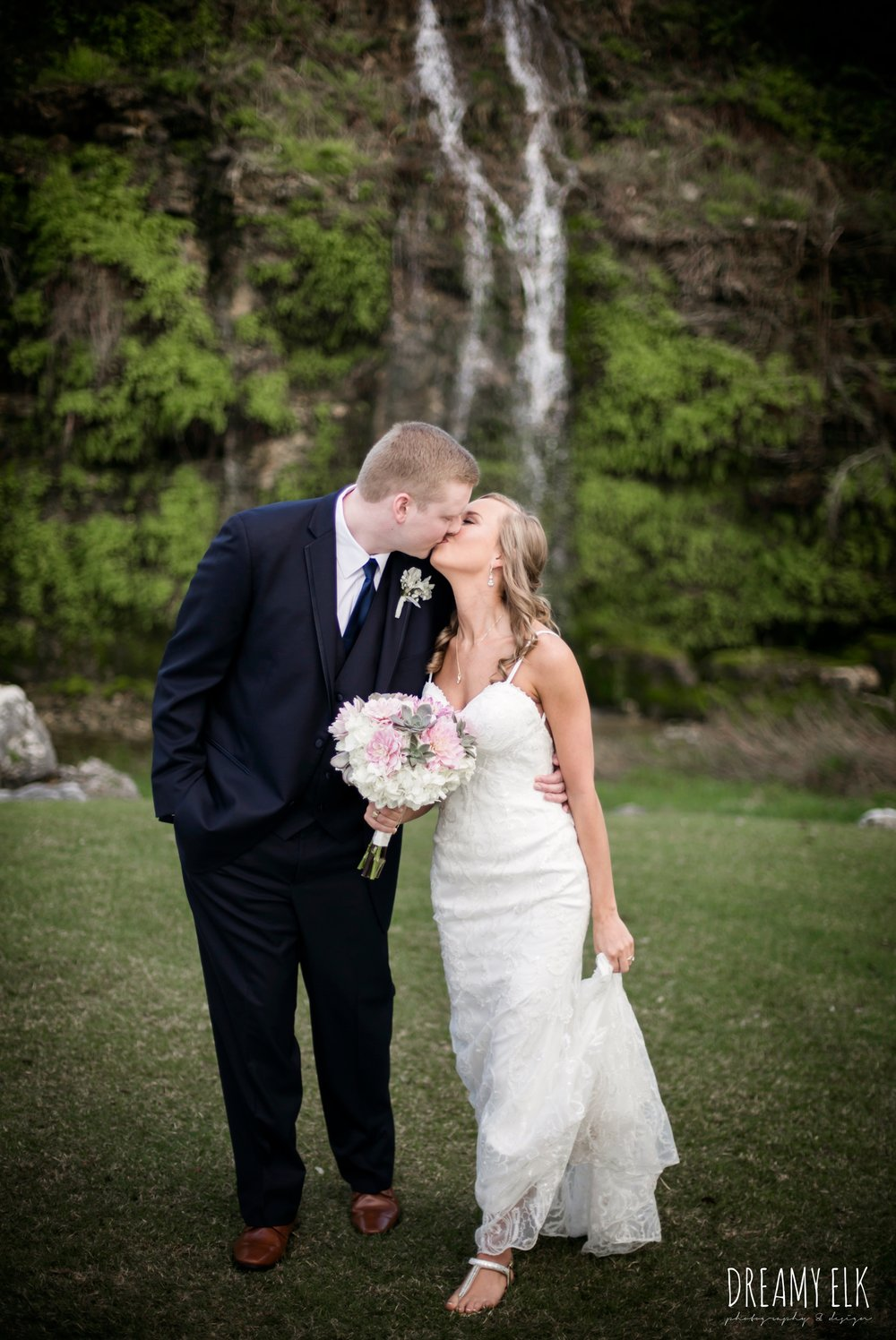 bride and groom, navy suit, backless column sheath wedding dress, heb blooms, cloudy march wedding photo, canyon springs golf club wedding, san antonio, texas {dreamy elk photography and design}