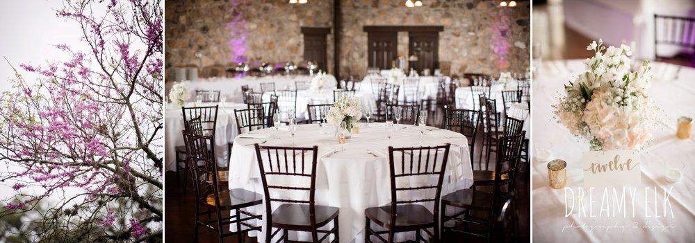 indoor wedding reception decor, table centerpieces, heb blooms, cloudy march wedding photo, canyon springs golf club wedding, san antonio, texas {dreamy elk photography and design}
