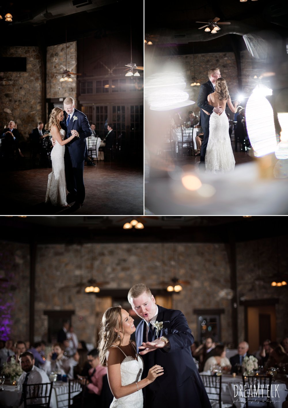 bride and groom first dance, backless column sheath wedding dress, cloudy march wedding photo, canyon springs golf club wedding, san antonio, texas {dreamy elk photography and design}