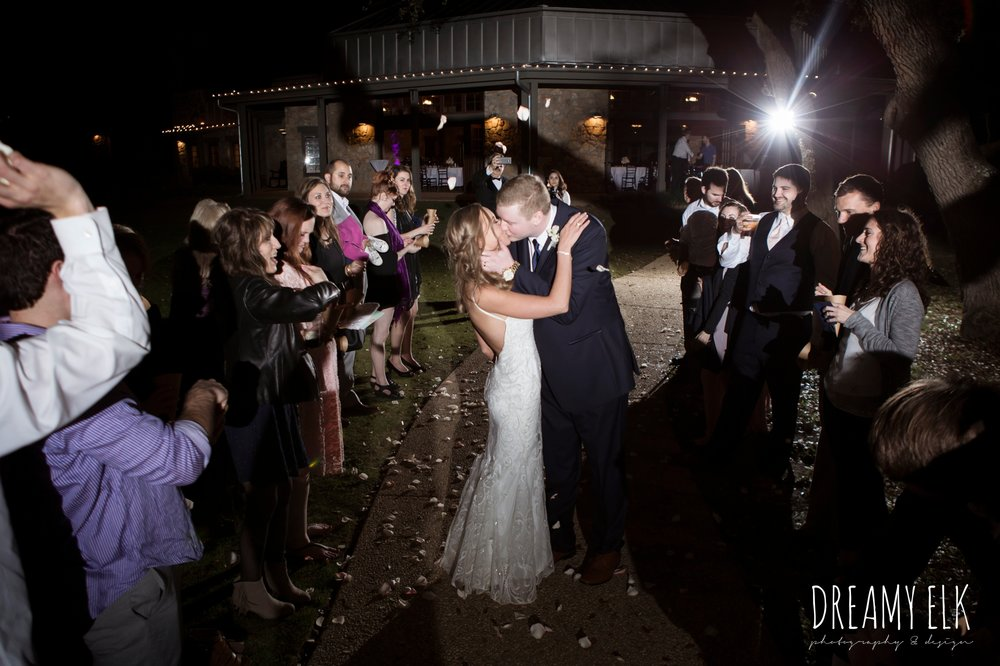 night evening wedding send off with rose petals, cloudy march wedding photo, canyon springs golf club wedding, san antonio, texas {dreamy elk photography and design}