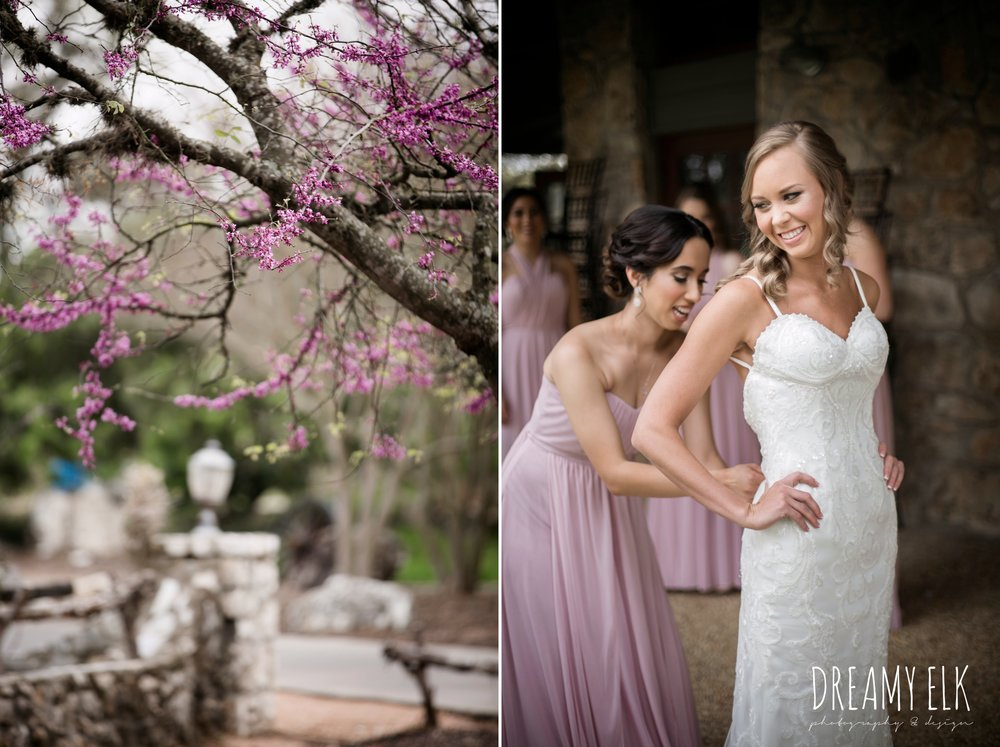 backless column sheath wedding dress, bride getting dressed, madame makeup and hair, cloudy march wedding photo, canyon springs golf club wedding, san antonio, texas {dreamy elk photography and design}