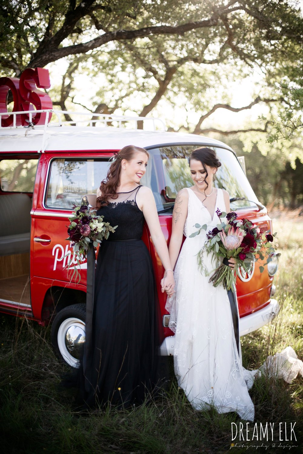 the cedars ranch, libby cole creations, saint isabel bridal, melange bridal, the photo bus, moody rich delicate marfa inspired burgundy maroon black white spring styled wedding photo shoot {dreamy elk photography and design}