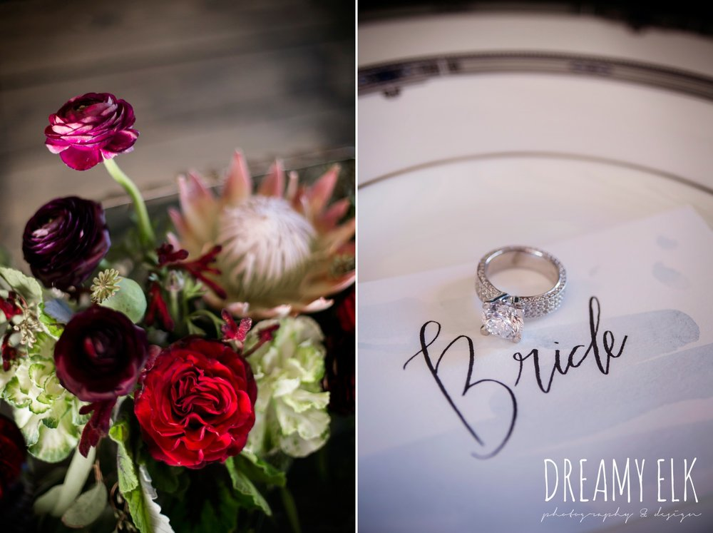 kirk root designs, marry me in spring, the cedars ranch, libby cole creations, moody rich delicate marfa inspired burgundy maroon black white spring styled wedding photo shoot {dreamy elk photography and design}