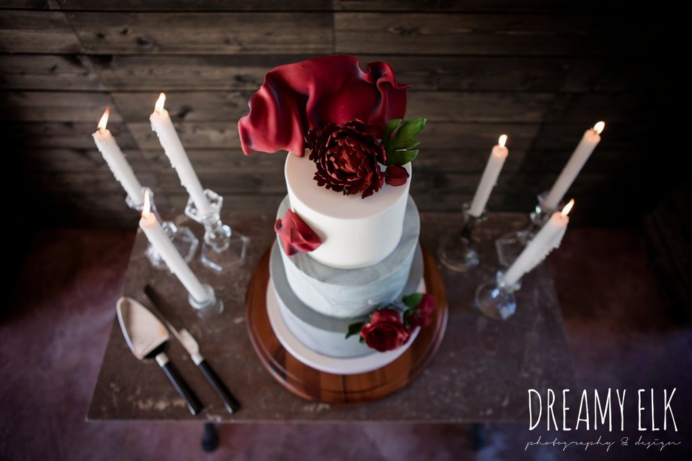 the cedars ranch, iced cake and confections, moody rich delicate marfa inspired burgundy maroon black white spring styled wedding photo shoot {dreamy elk photography and design}