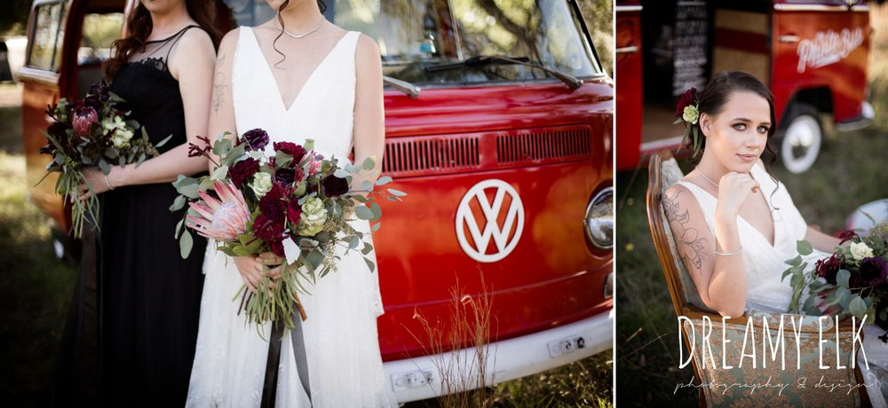 the cedars ranch, libby cole creations, saint isabel bridal, melange bridal, glam gone good, the photo bus, moody rich delicate marfa inspired burgundy maroon black white spring styled wedding photo shoot {dreamy elk photography and design}