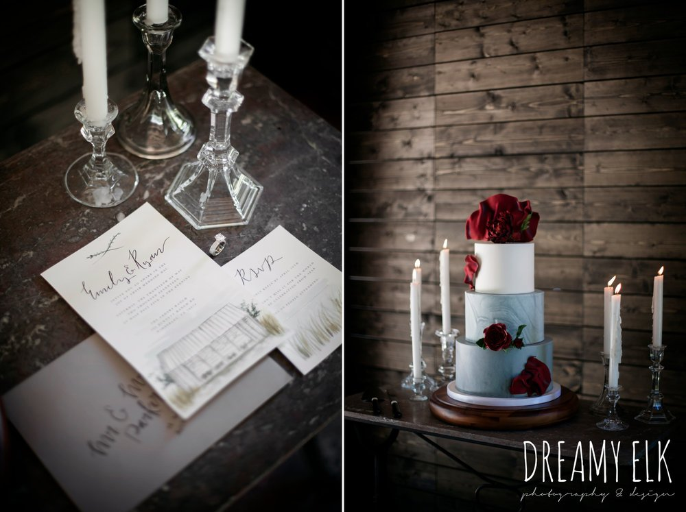 the cedars ranch, libby cole creations, iced cakes confections, marry me in spring, moody rich delicate marfa inspired burgundy maroon black white spring styled wedding photo shoot {dreamy elk photography and design}