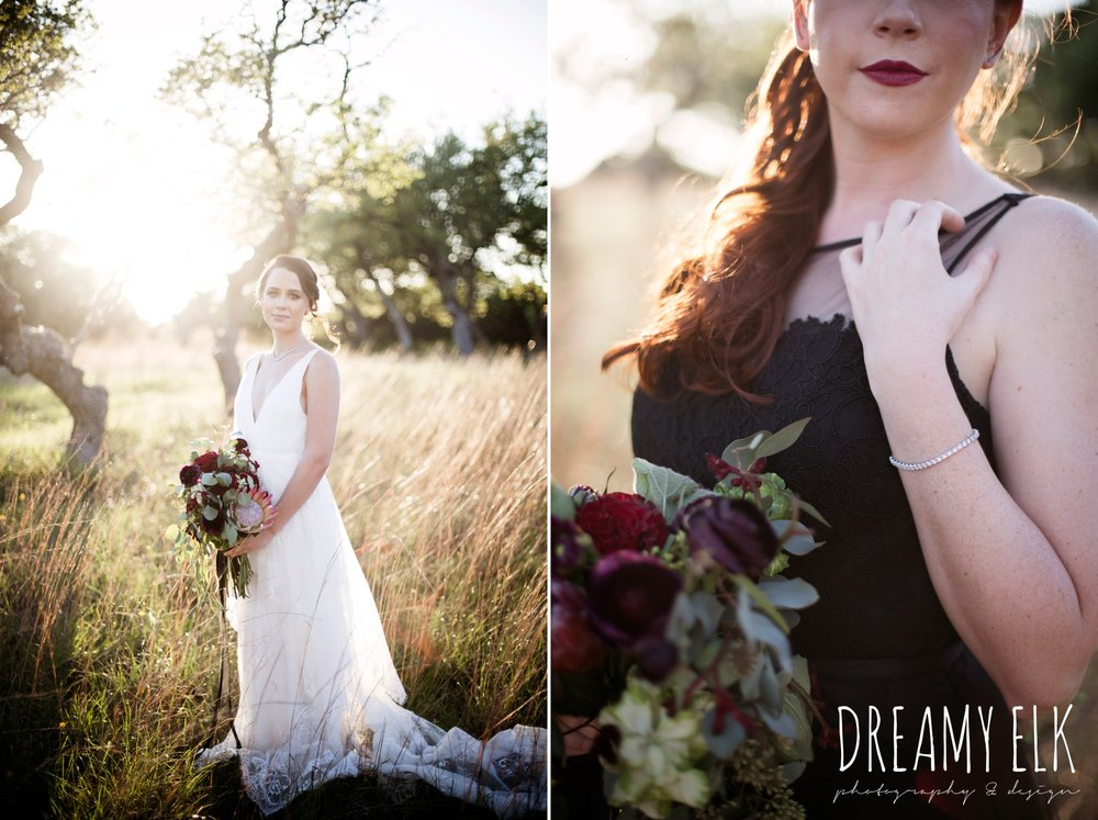 the cedars ranch, libby cole creations, saint isabel bridal, melange bridal, glam gone good, kirk root designs, moody rich delicate marfa inspired burgundy maroon black white spring styled wedding photo shoot {dreamy elk photography and design}