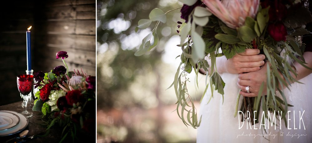 the cedars ranch, libby cole creations, kirk root designs, moody rich delicate marfa inspired burgundy maroon black white spring styled wedding photo shoot {dreamy elk photography and design}