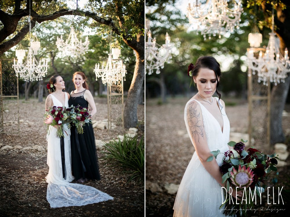 the cedars ranch, libby cole creations, saint isabel bridal, melange bridal, glam gone good, intelligent lighting designs, moody rich delicate marfa inspired burgundy maroon black white spring styled wedding photo shoot {dreamy elk photography and design}