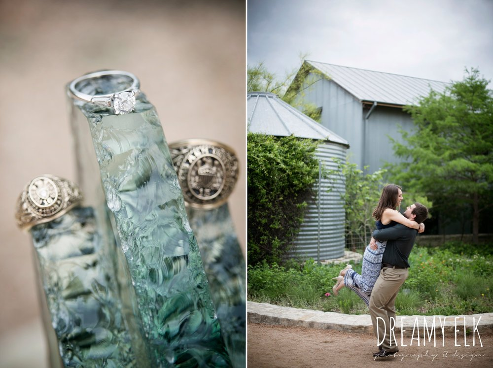 aggie ring, engagement ring, overcast cloudy day, spring engagement photo, ladybird johnson wildflower center, austin, texas {dreamy elk photography and design}