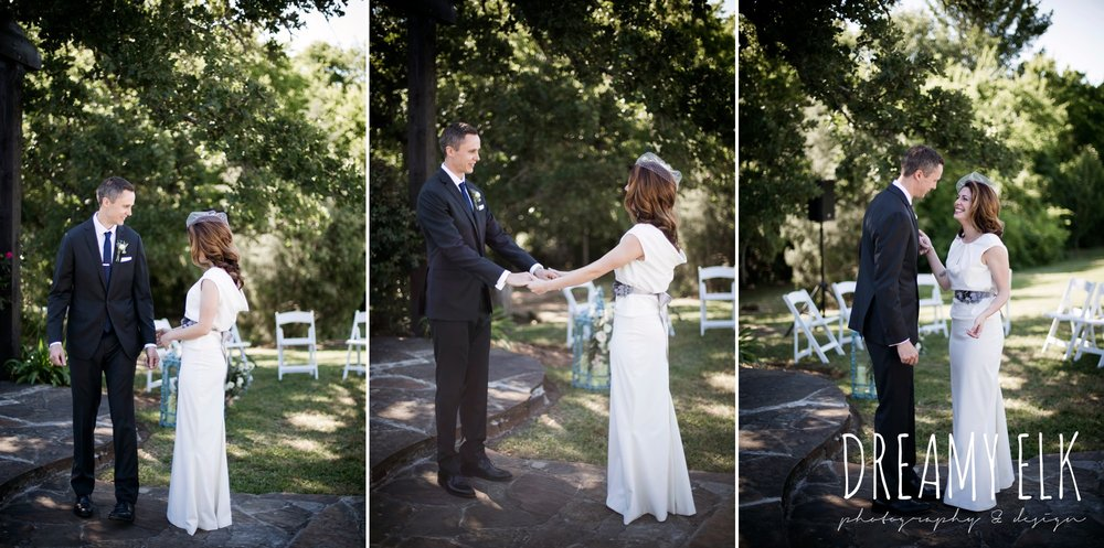 bride, groom, first look, handmade wedding dress, two piece wedding dress, gray sash, bird cage veil, outdoor april spring wedding photo, double creek crossing, college station, texas, austin wedding photographer {dreamy elk photography and design}