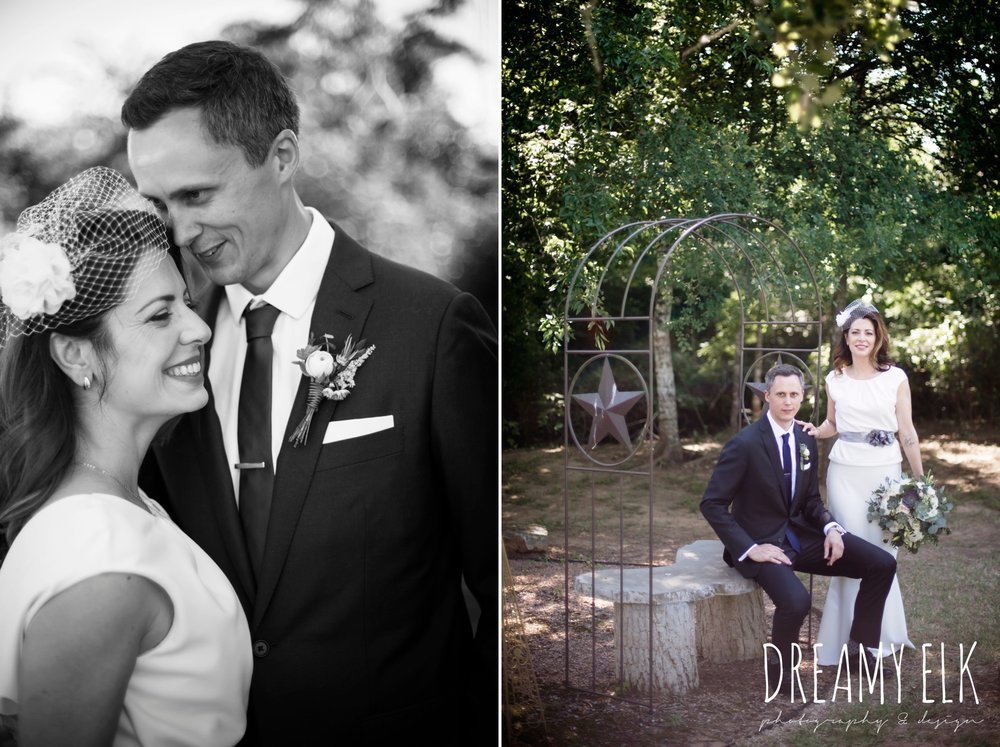 bride and groom portraits, handmade wedding dress, two piece wedding dress, gray sash, bird cage veil, outdoor april spring wedding photo, double creek crossing, college station, texas, austin wedding photographer {dreamy elk photography and design}