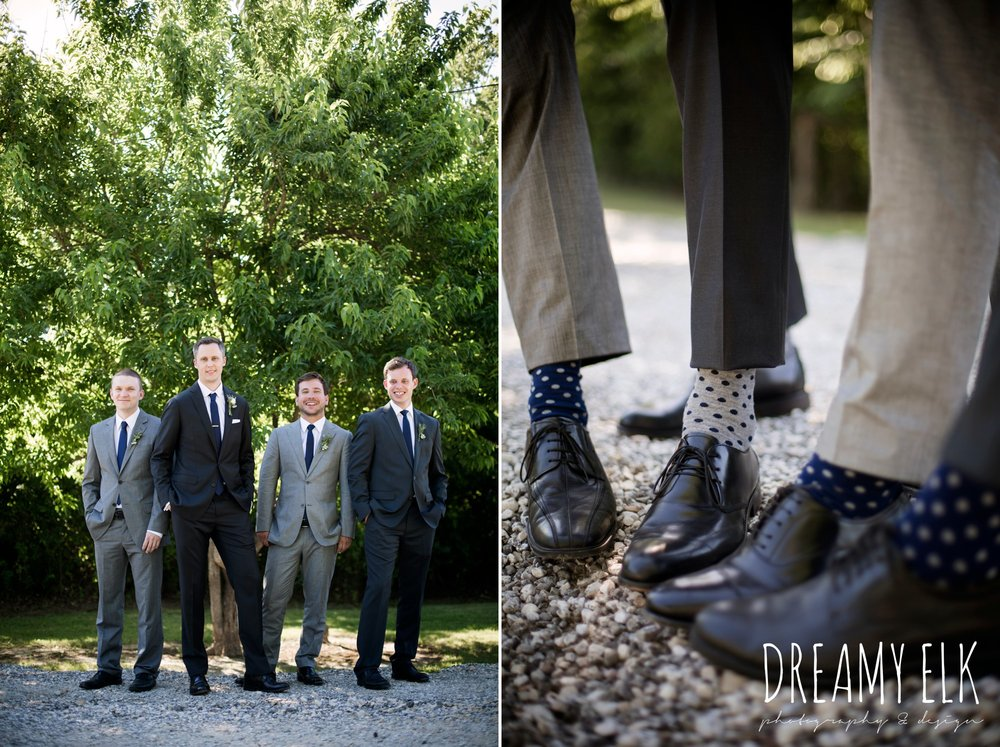 groom and groomsmen, matching socksoutdoor april spring wedding photo, double creek crossing, college station, texas, austin wedding photographer {dreamy elk photography and design}
