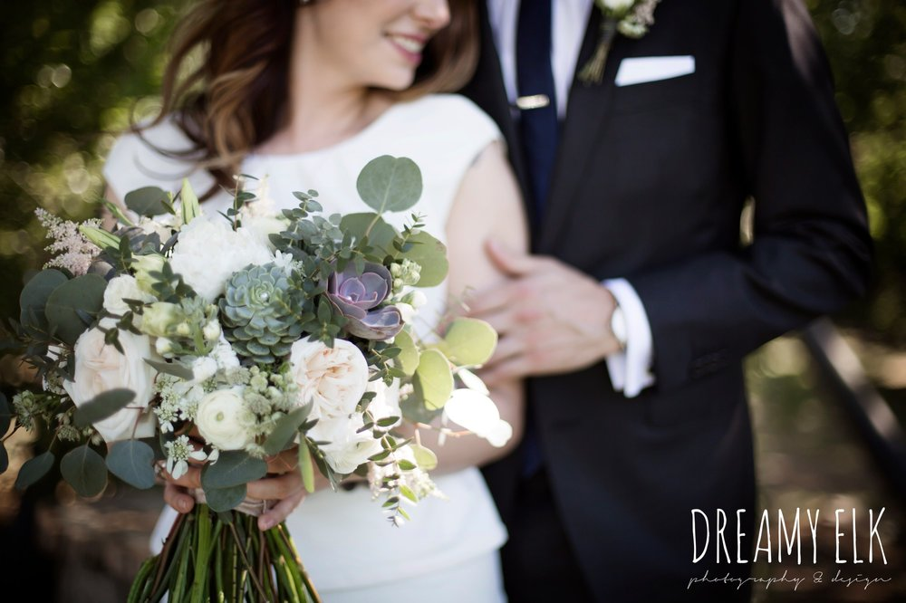 unforgettable floral, white and green succulent wedding bouquet, outdoor april spring wedding photo, double creek crossing, college station, texas, austin wedding photographer {dreamy elk photography and design}