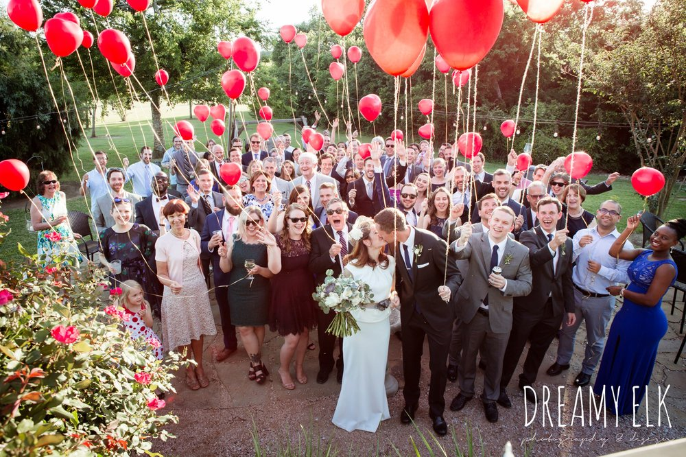 wedding guests, red heart balloons, handmade wedding dress, two piece wedding dress, gray sash, bird cage veil, outdoor april spring wedding photo, double creek crossing, college station, texas, austin wedding photographer {dreamy elk photography and design}