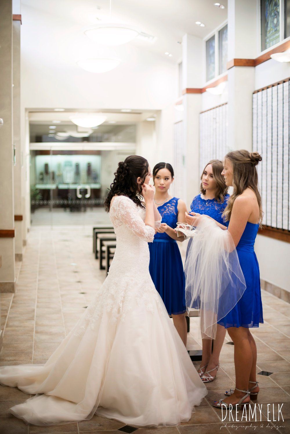 bride getting dressed, royal blue david's bridal bridesmaid, Misora Bridal, halo beauty bar makeup, Lisa Pelayo Makeup & Beauty, bride, essence of australia wedding dress, jewish wedding ceremony, summer june jewish wedding photo {dreamy elk photography and design}