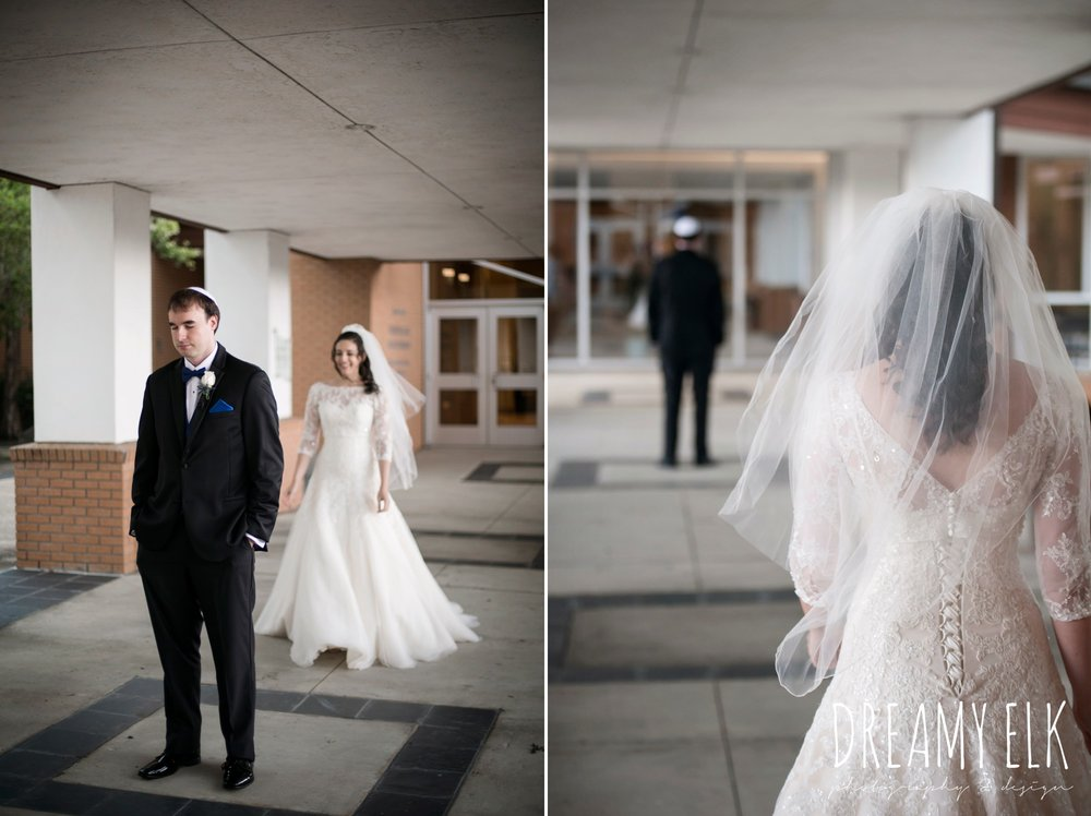first look, Elaine's Florist, Misora Bridal, halo beauty bar makeup, Lisa Pelayo Makeup & Beauty, bride, essence of australia wedding dress, groom, michael kors suit, jewish wedding ceremony, summer june jewish wedding photo {dreamy elk photography and design}