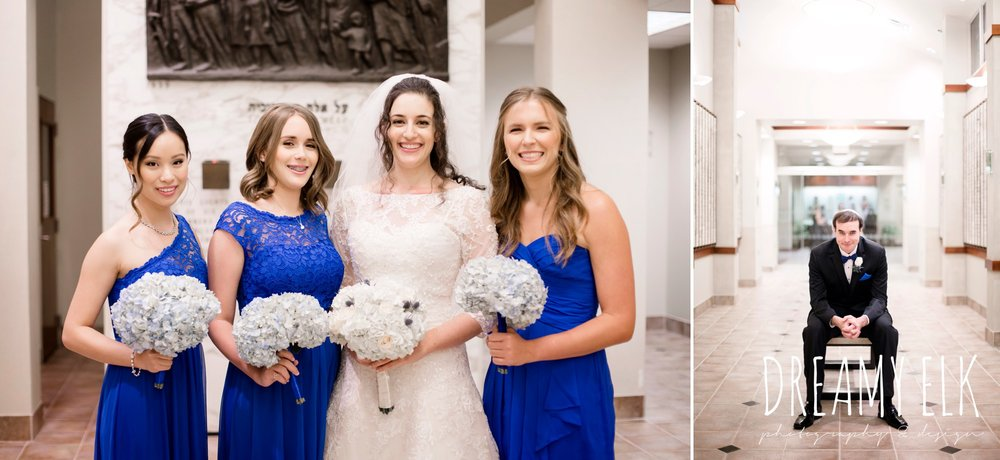 royal blue david's bridal bridesmaids, Elaine's Florist, Misora Bridal, halo beauty bar makeup, Lisa Pelayo Makeup & Beauty, bride, essence of australia wedding dress, groom, michael kors suit, jewish wedding ceremony, summer june jewish wedding photo {dreamy elk photography and design}