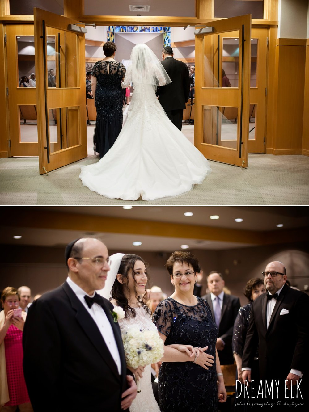bride walking down the aisle with both parents, jewish wedding ceremony, summer june jewish wedding photo {dreamy elk photography and design}