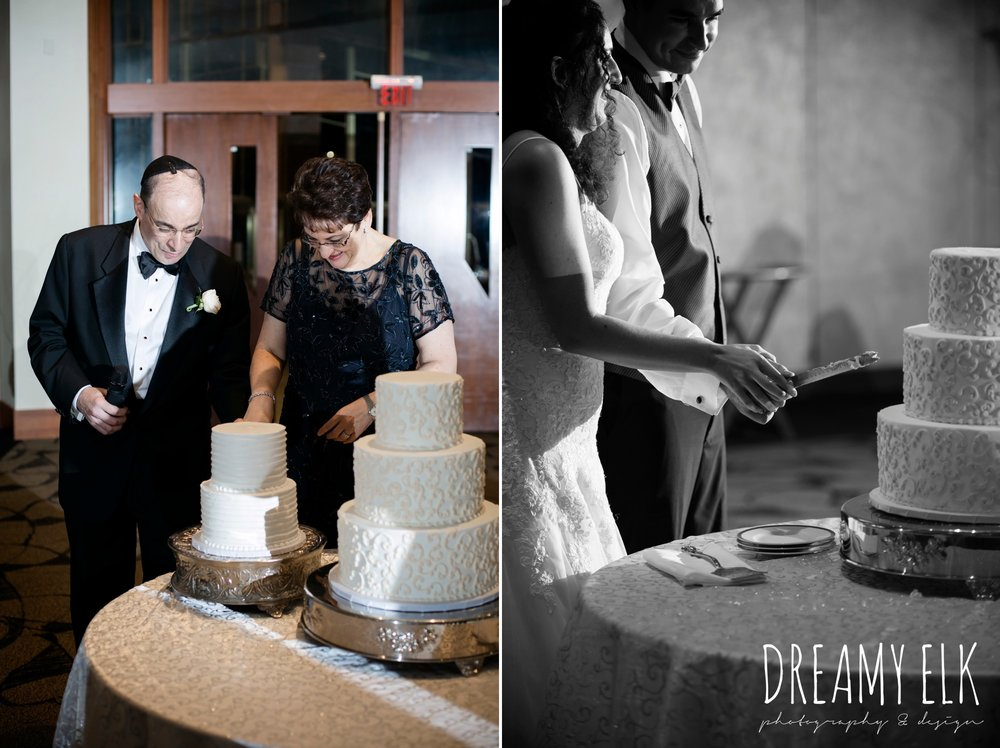 three brothers bakery, bride and groom cutting the cake, bride's parents cutting an anniversary cake, summer june jewish wedding photo {dreamy elk photography and design}