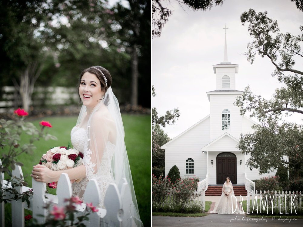 outdoor summer bridal photo, lace sweetheart strapless wedding dress, wooden flower bouquet, knee length lace wedding veil, ashelynn manor, houston, austin texas wedding photographer, dreamy elk photography and design
