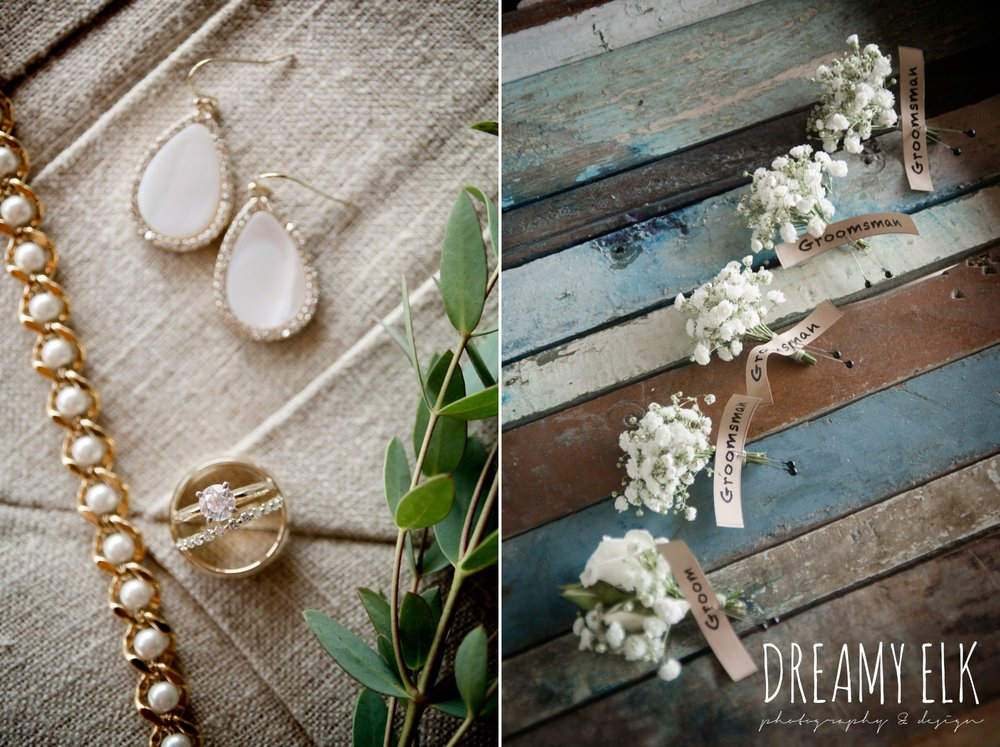 gold wedding jewelry, wild bunches floral, summer july wedding photo, canyonwood ridge, dripping springs, texas {dreamy elk photography and design}