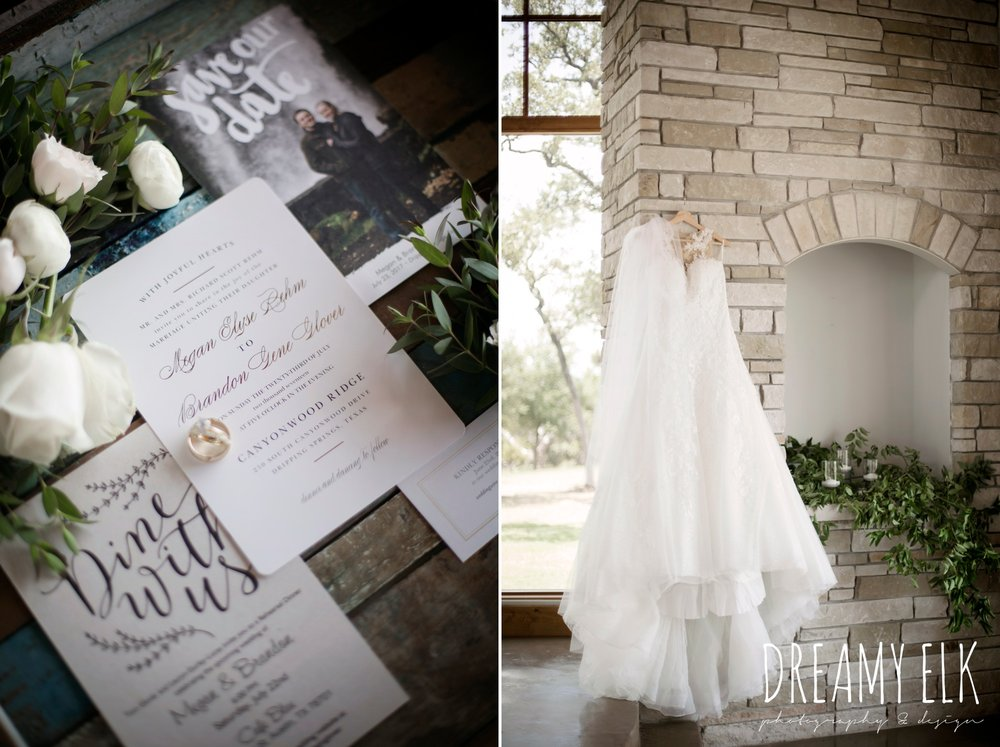 pronovias dress on hangar, wedding invitation suite, wild bunches floral, summer july wedding photo, canyonwood ridge, dripping springs, texas {dreamy elk photography and design}