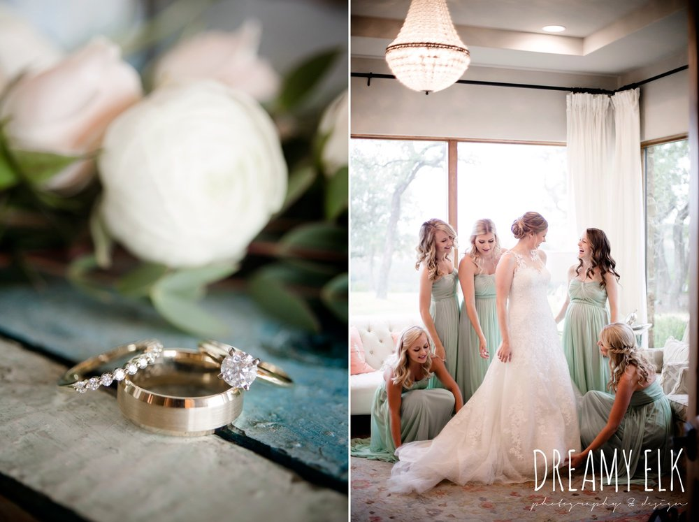 gold wedding jewelry, rings, solitaire engagement ring, bride and bridesmaids, david's bridal, mint long bridesmaids dresses, summer july wedding photo, canyonwood ridge, dripping springs, texas {dreamy elk photography and design}