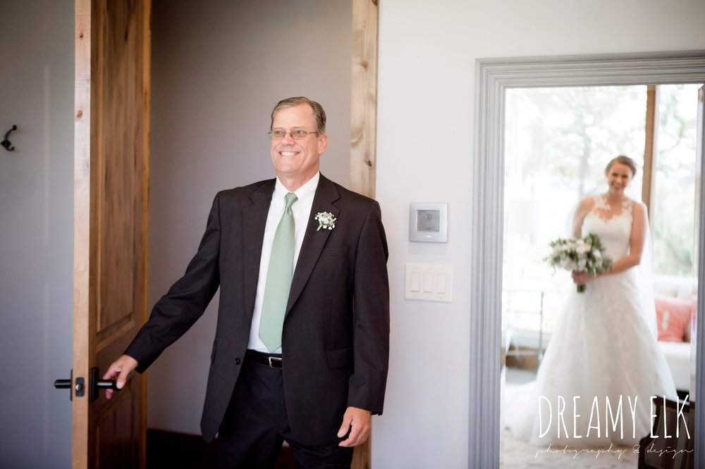 first look with dad, summer july wedding photo, canyonwood ridge, dripping springs, texas {dreamy elk photography and design}