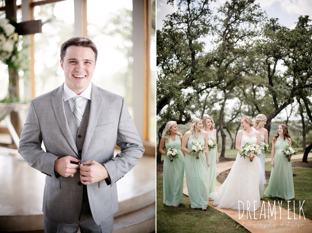 bride, bridesmaids, mix and match long mint bridesmaids dress, groom, mens wearhouse, gray suits, summer july wedding photo, canyonwood ridge, dripping springs, texas {dreamy elk photography and design}