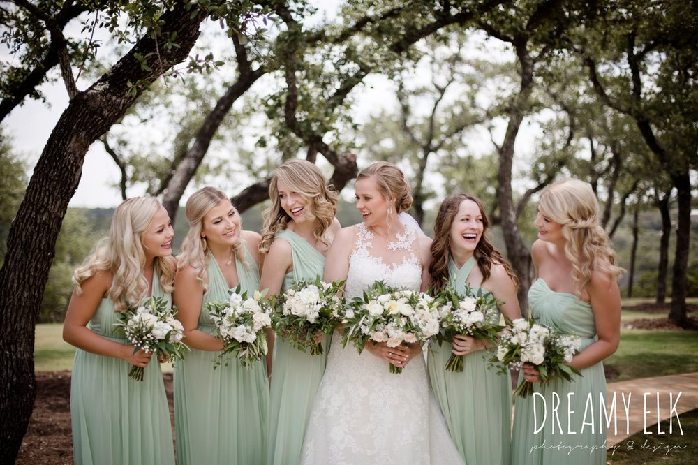 bride, bridesmaids, mix and match long mint bridesmaids dress, wild bunches floral, david's bridal illusion neckline wedding dress, wedding hair updo, katy reddell hair and makeup, summer july wedding photo, canyonwood ridge, dripping springs, texas {dreamy elk photography and design}