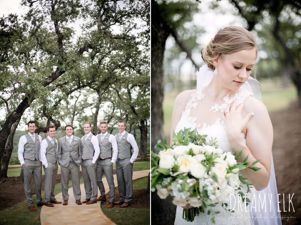 groomsmen, groom, mens wearhouse, gray suits, wild bunches floral, david's bridal illusion neckline wedding dress, wedding hair updo, katy reddell hair and makeup, summer july wedding photo, canyonwood ridge, dripping springs, texas {dreamy elk photography and design}