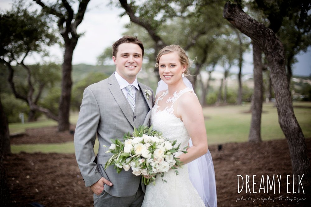 groom, mens wearhouse, gray suits, wild bunches floral, david's bridal illusion neckline wedding dress, wedding hair updo, katy reddell hair and makeup, summer july wedding photo, canyonwood ridge, dripping springs, texas {dreamy elk photography and design}