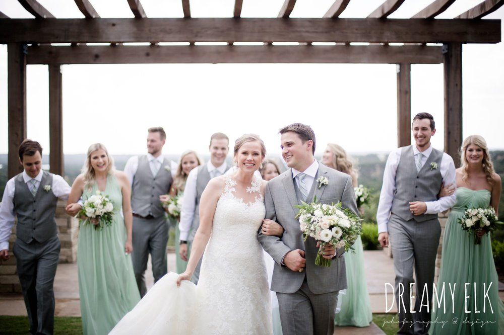 bride, bridesmaids, mix and match long mint bridesmaids dress, groom, groomsmen, mens wearhouse, gray suits, wild bunches floral, david's bridal illusion neckline wedding dress, wedding hair updo, katy reddell hair and makeup, summer july wedding photo, canyonwood ridge, dripping springs, texas {dreamy elk photography and design}