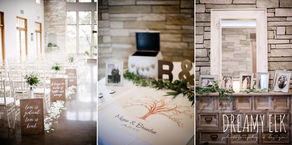 indoor ceremony, wedding signage, guest sign in book thumbprint, summer july wedding photo, canyonwood ridge, dripping springs, texas {dreamy elk photography and design}