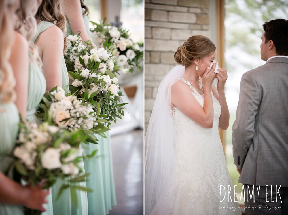 indoor wedding ceremony, bride, bridesmaids, mix and match long mint bridesmaids dress, wild bunches floral, summer july wedding photo, canyonwood ridge, dripping springs, texas {dreamy elk photography and design}