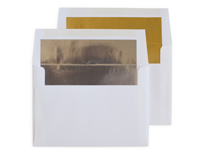 gold or silver foil lined (white envelopes only)