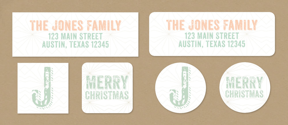 geometric christmas return address labels envelope seals dreamy