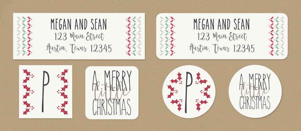merry little christmas return address labels envelope seals
