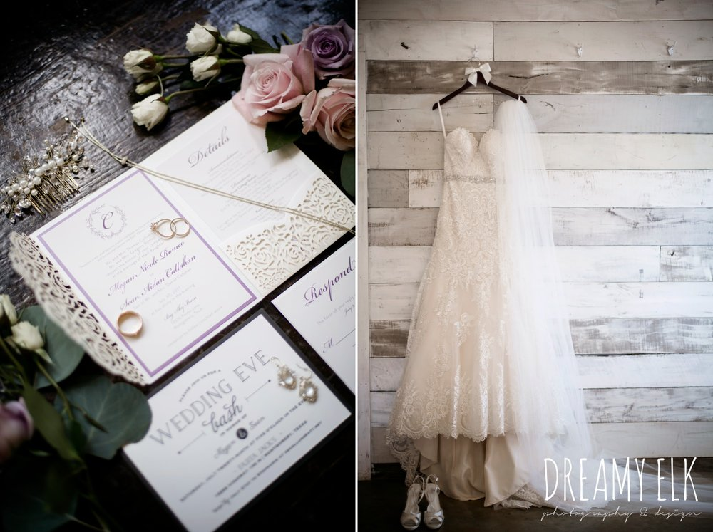 f. dellit designs, lavender and blush bouquet, wedding invitation, wedding jewelry, wedding dress hanging on hangar, summer july wedding, lavender, big sky barn, houston, texas, austin wedding photographer {dreamy elk photography and design} photo