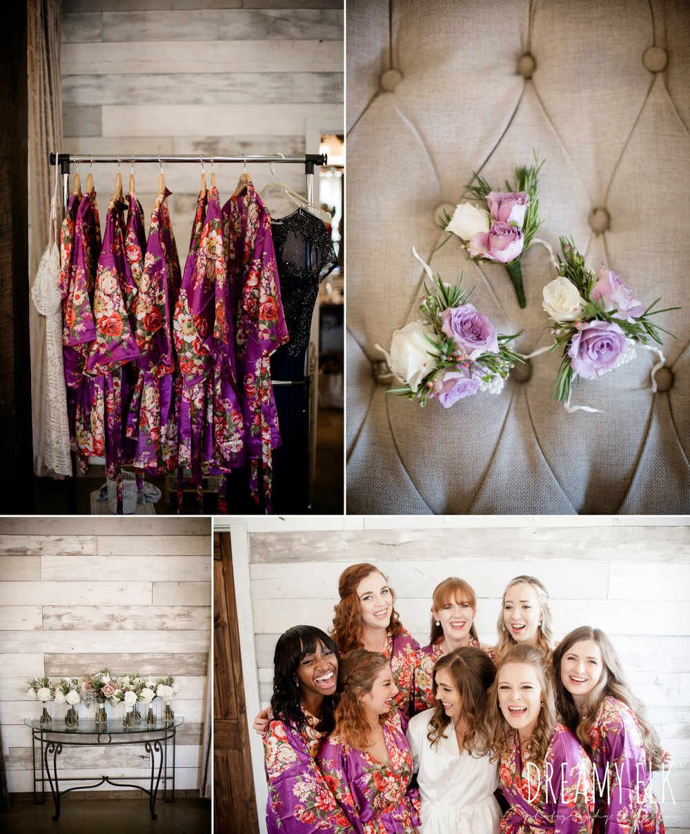 matching bridesmaids robes, boutonnieres, bride and bridesmaids, summer july wedding, lavender, big sky barn, houston, texas, austin wedding photographer {dreamy elk photography and design} photo