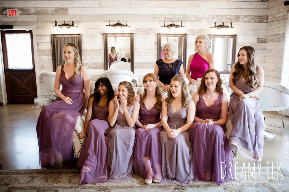 bridesmaids, floor length long lavender dresses, bhldn, bridesmaids reaction to bride in dress, summer july wedding, lavender, big sky barn, houston, texas, austin wedding photographer {dreamy elk photography and design} photo